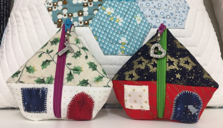 Christmas quilt house pot one zipper pod クリスマス パッチワークミシンキルト modern quilt ポーチ ハウス 片側ファスナー 中沢フェリーサ Nakazawa Felisa