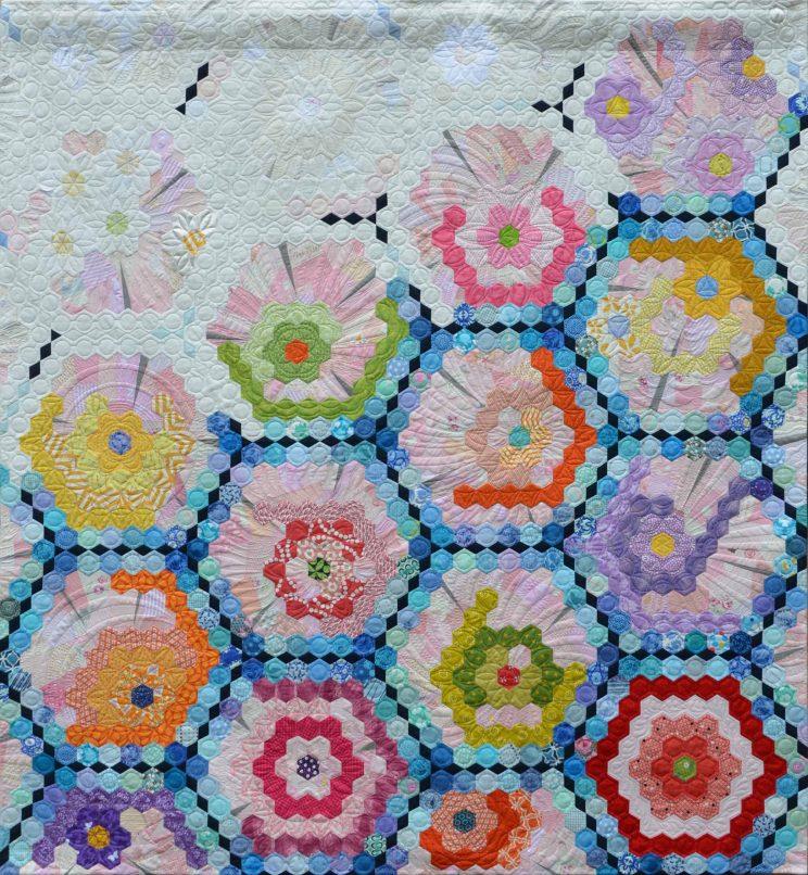 hexagon Quilt ヘキサゴンキルトhexies quilt Grand mother's Garden hexagon Quilt 東京キルト&ステッチショー2017 Quilt & Stitch Show 2017 グランドマザー・フラワーガーデン Grandmother's Quilt ヘキサゴン Nakazawa Felisa 中沢フェリーサ