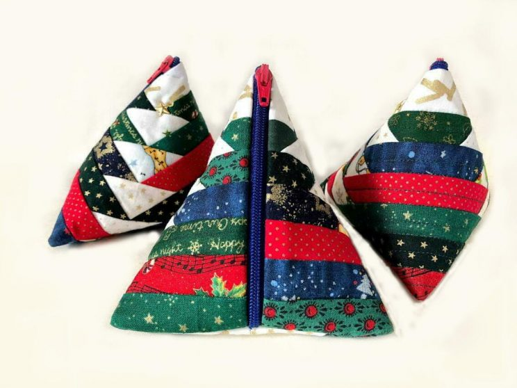 Triangle purse Pouch Zipper テトラポーチの作り方 log cabin quilt ログキャビンキルトPineapple Quilt パインナップルキルト