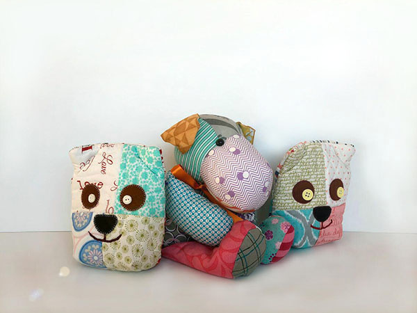 doggy bank パッチワーク キルト ワンちゃんの貯金ポーチ patchwork doggy purse